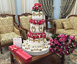 beautiful, flowers, and cake image