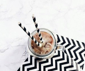 coffee, black and white, and drink image