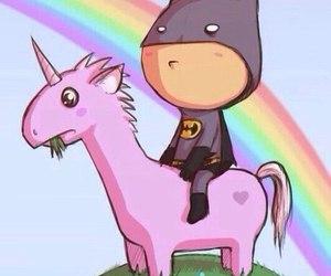 rainbow, batman, and unicorn image