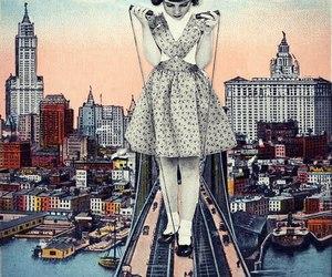 art, girl, and city image