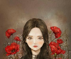 girl, wallpaper, and flowers image