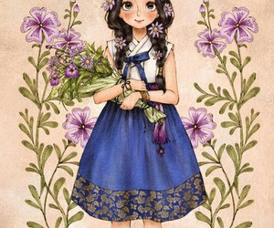 beautiful, girl, and flowers image