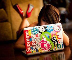 girl, laptop, and supreme image