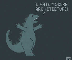 architecture, Godzilla, and amusing illustrations image