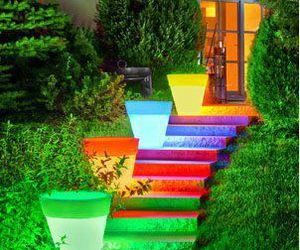 colorful, garden, and stairs image