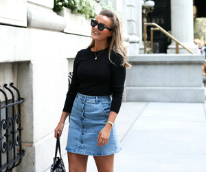 newyork, denim skirt, and ny image