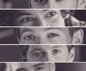 black and white, eyes, and one direction image
