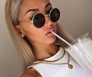 girl, sunglasses, and makeup image