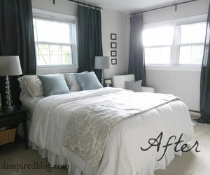 bedroom, curtains, and decor image