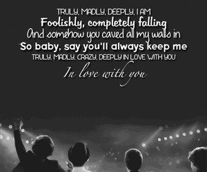 Lyrics, truly madly deeply, and one direction image