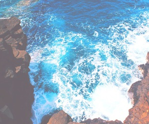 bright, waves, and cliff image