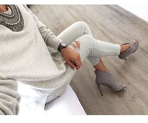 grey, ripped jeans, and style image