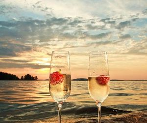 sea, champagne, and beach image