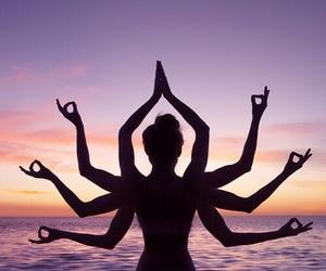 sunset, yoga, and beach image