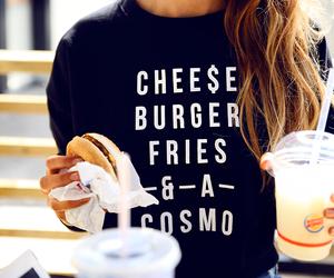 drink, girl, and cheeseburger image