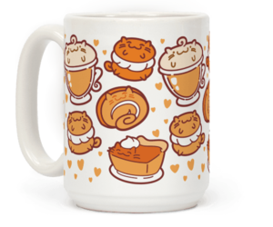cats, fall, and mugs image