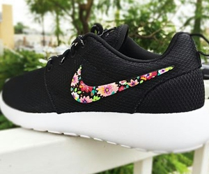 black, nike, and flowers image