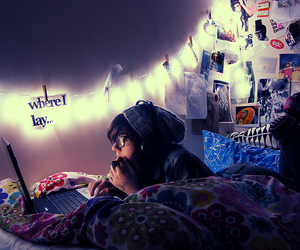 girl, room, and laptop image