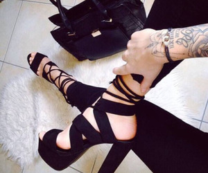 black, shoes, and tattoo image