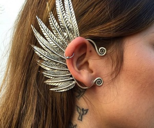 jewelry, tattoo, and wings image