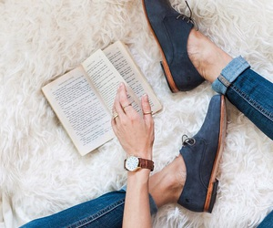 book, shoes, and watch image