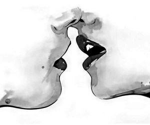 kiss, black and white, and white image