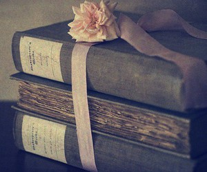 book, flower, and ribbon image