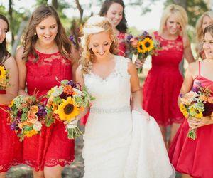 sunflowers, wedding, and wedding bouquets image