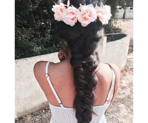 braid, hairstyle, and flowers image