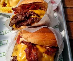 food, burger, and bacon image