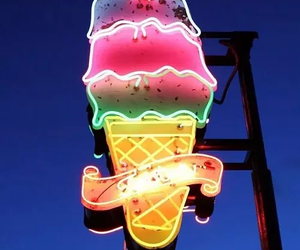 ice cream, light, and neon image
