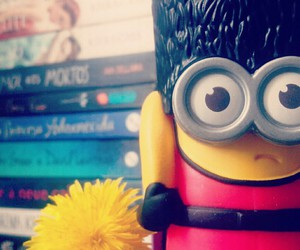 books, minions, and flowers image