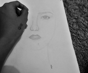 black and white, sketch, and selfportrait image