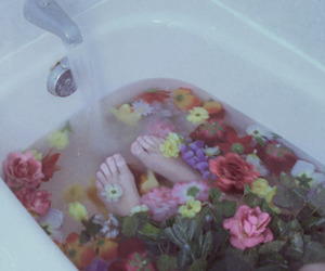 flowers, bath, and water image