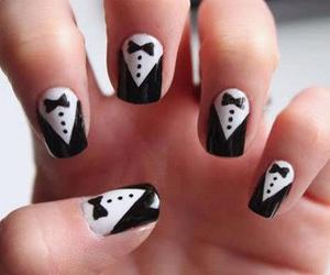 nails, black and white, and nail art image