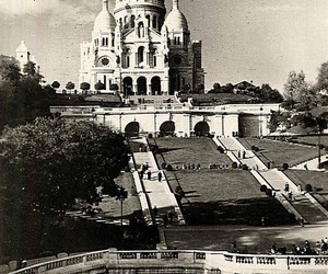 black and white, cathedral, and france image
