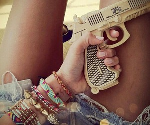 gun, bracelet, and swag image