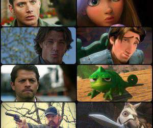 crowley, bobby singer, and dean winchester image