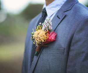 wedding, boutonniere, and wedding photo image