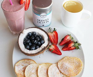 coconut, pancakes, and strawberry image