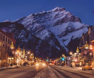 mountains, lights, and winter image