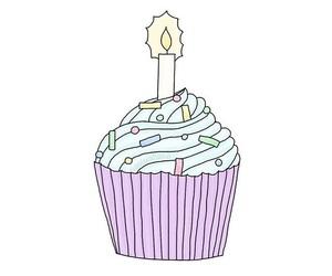 candle, cupcake, and birthday image