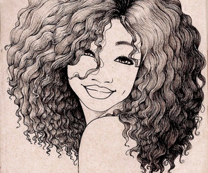 drawing, art, and curly hair image