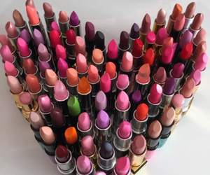 lipstick, heart, and makeup image