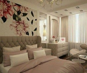 bed, flowers, and room image