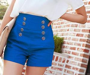 fashion, blue, and shorts image