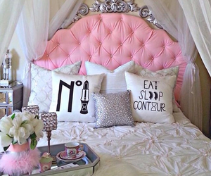 pink, bedroom, and bed image