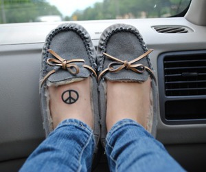 peace, tattoo, and shoes image
