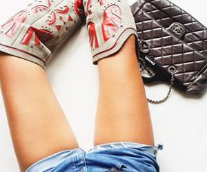 boots, chanel, and cowboy boots image