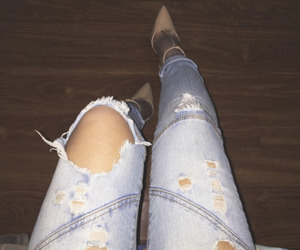 fashion, denim, and heels image